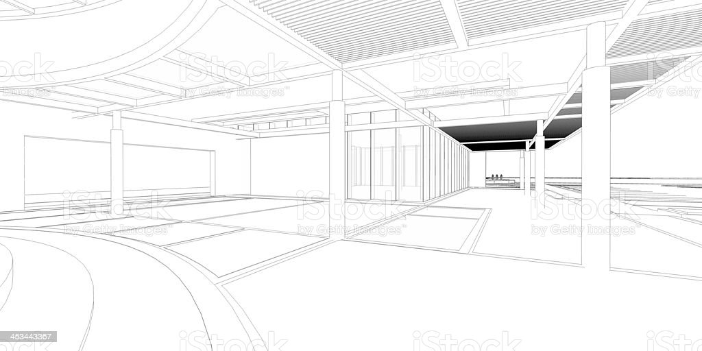 Wireframe 3D rendering of architecture royalty-free stock photo