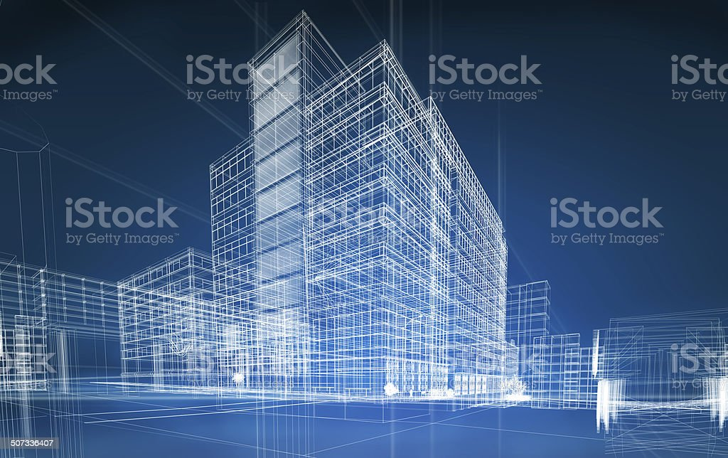 wireframe buildings​​​ foto
