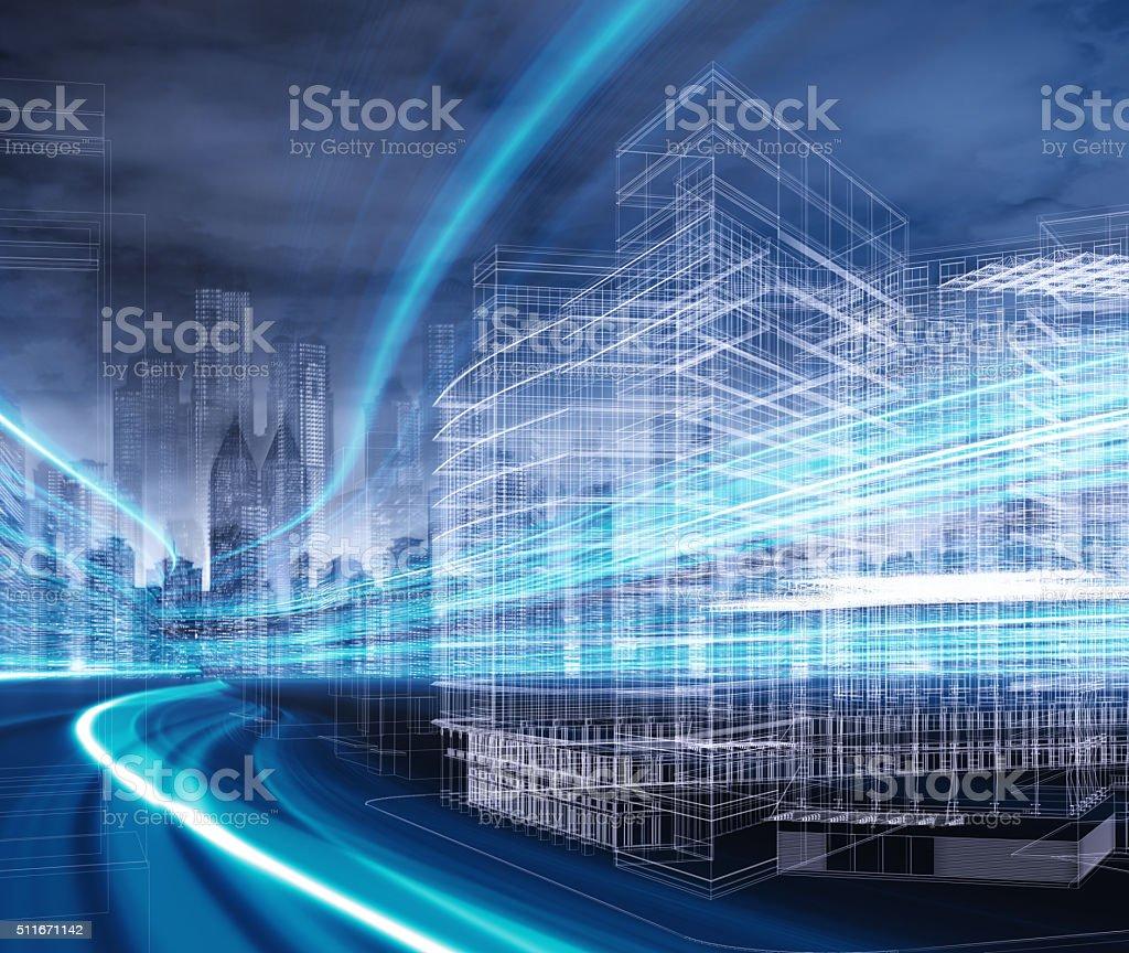 Gitternetzlinien Gebäude - Lizenzfrei Bildkomposition und Technik Stock-Foto