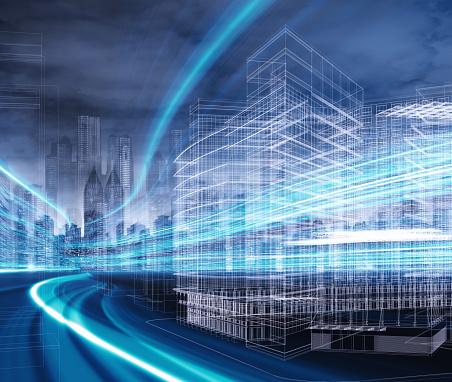 Gitternetzlinien Gebäude Stockfoto und mehr Bilder von Bildkomposition und Technik