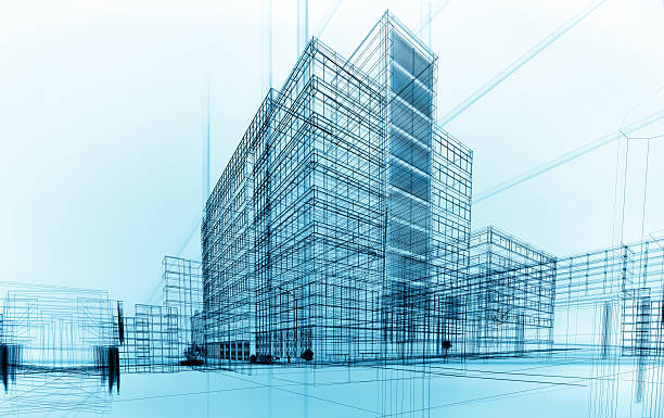 wireframe buildings stock photo