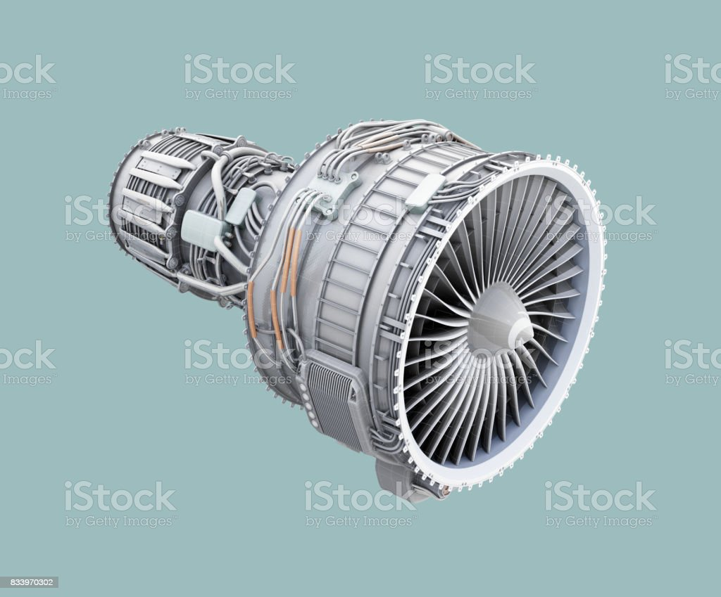 3D wireframe clay render of turbofan jet engine isolated on green background stock photo