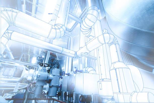 wire-frame computerbild industrielle cad-design-konzept - petrochemische fabrik stock-fotos und bilder