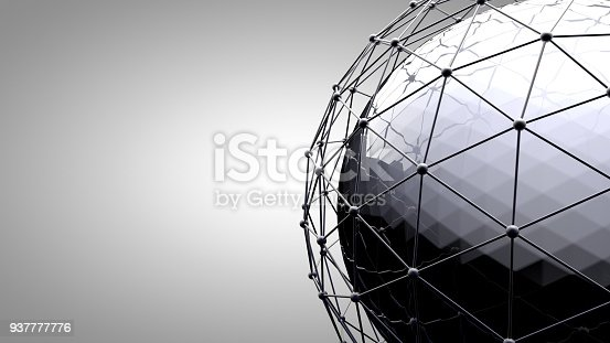 istock Wireframe connecting sphere. Connection lines around earth globe. The concept of social network, globe connection. Global International connectivity Background. Abstract 3d rendering illustration. 937777776