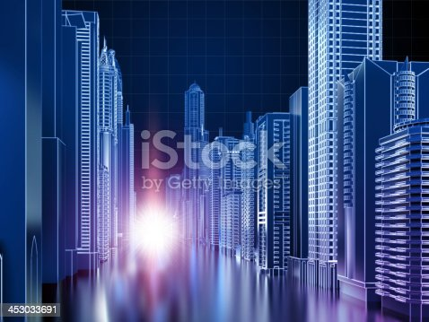 507211099istockphoto Wireframe cyber city 453033691