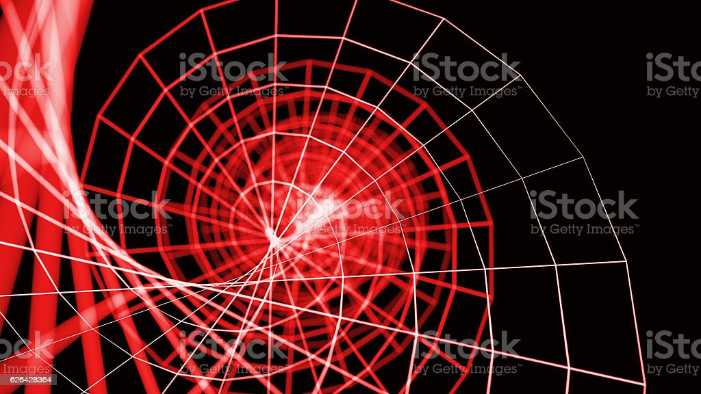Wireframe DNA spiral - a skeletal three-dimensional model of sur stock photo
