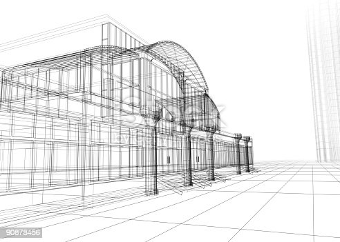 507211099istockphoto Wireframe drawing of an office building 90878456
