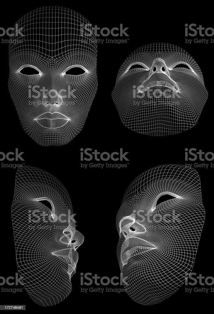 Wireframe face stock photo