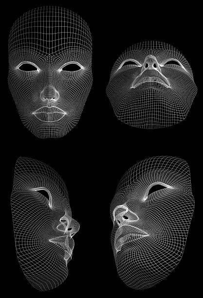 wireframe face - tron sci fi bildbanksfoton och bilder