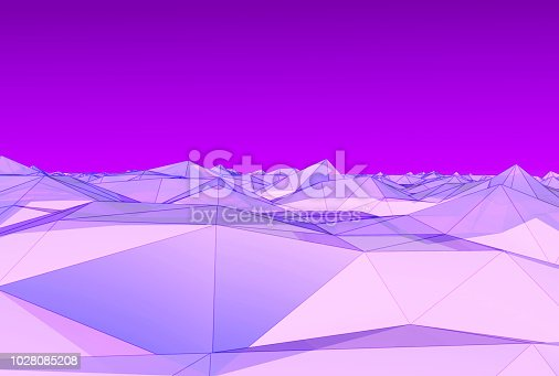 istock Wireframe futuristic on landscape terrain cyberspace grid background technology concept,3D rendering. 1028085208