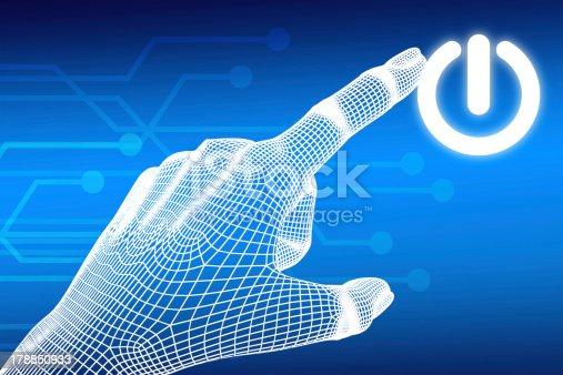 istock wireframe Hand pressing power button 178850933