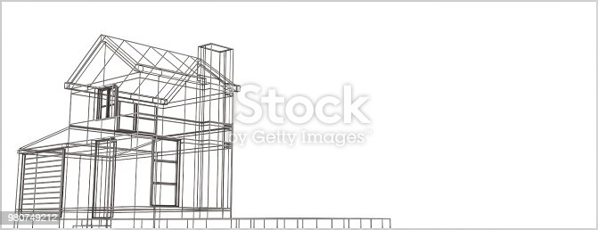 istock wireframe house 980749212