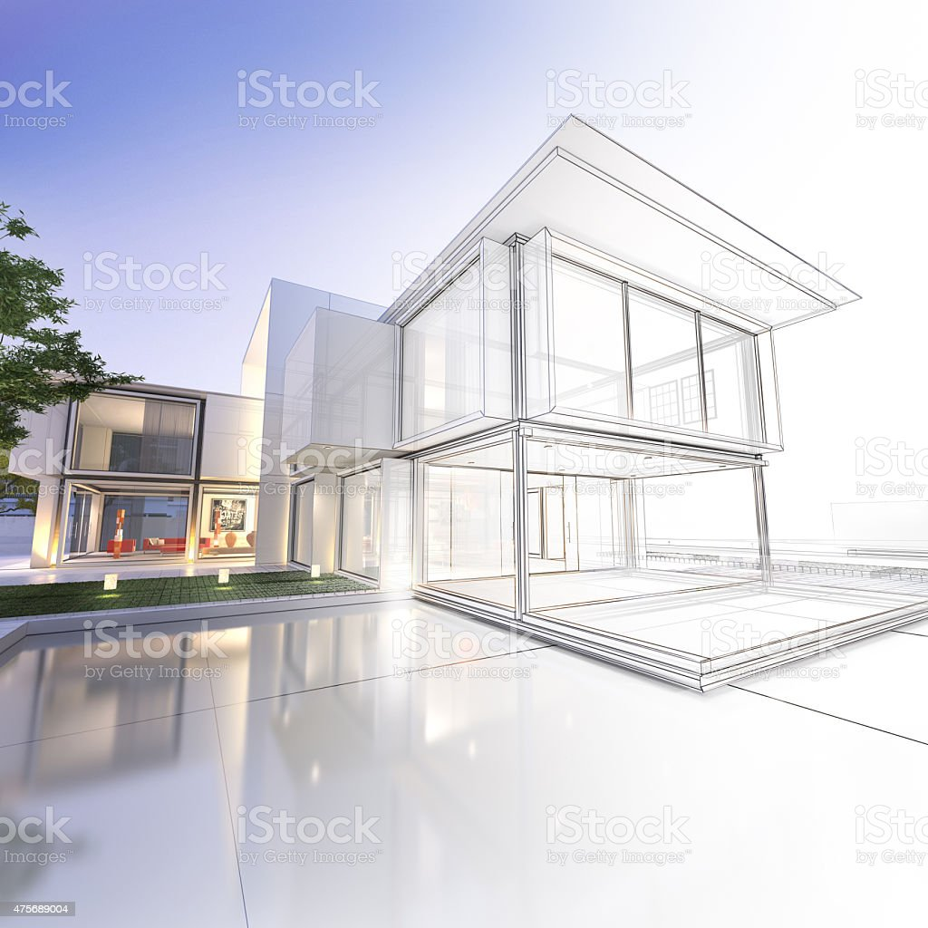 Wireframe mansion stock photo