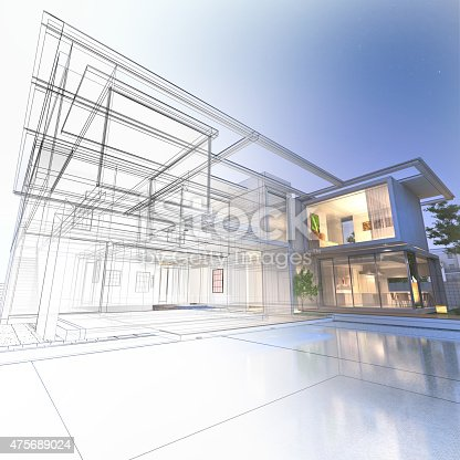 istock Wireframe mansion 475689024