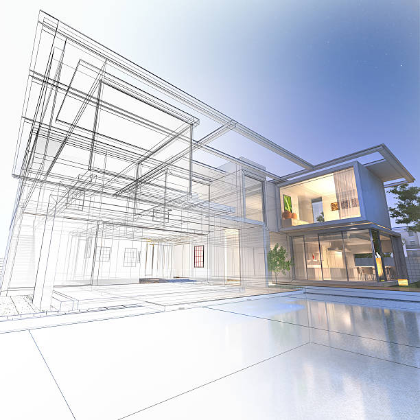Wireframe mansion 3D rendering of a luxurious villa with contrasting realistic rendering and wireframe man made structure stock pictures, royalty-free photos & images