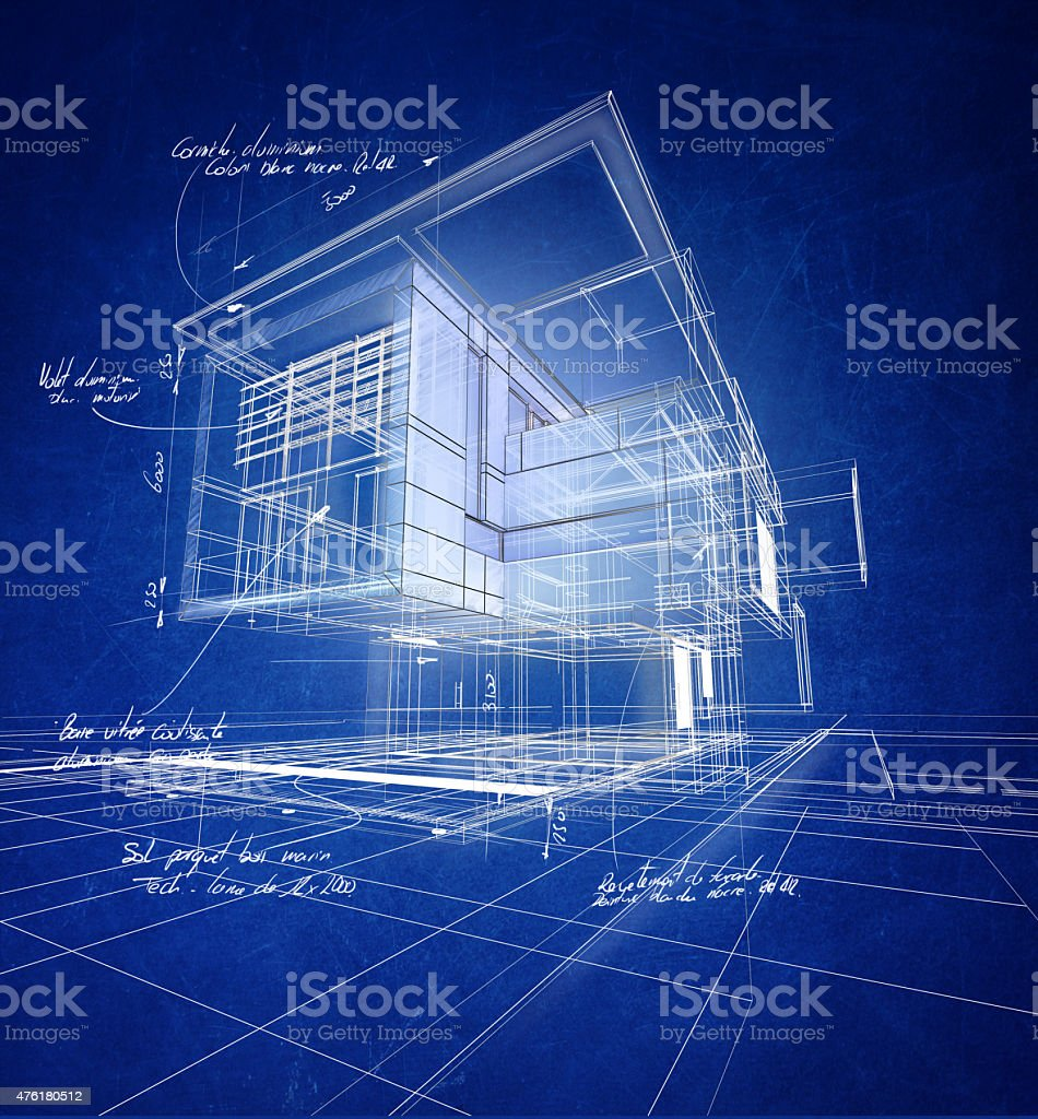 Wireframe modern construction stock photo