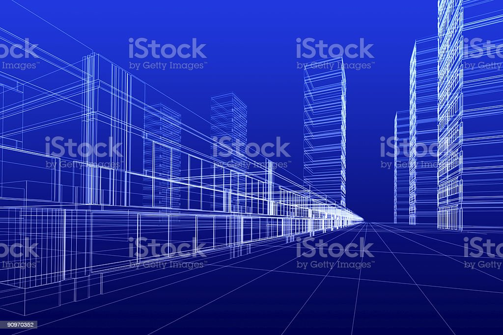 wireframe of offices royalty-free stock photo