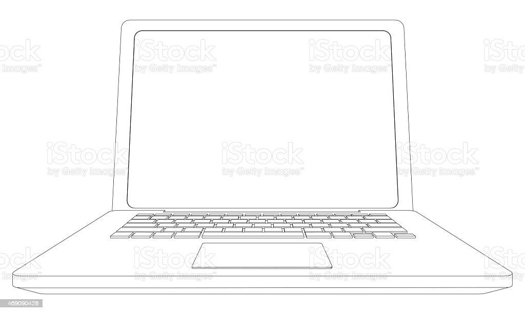 Wireframe Open Laptop Front View stock photo | iStock