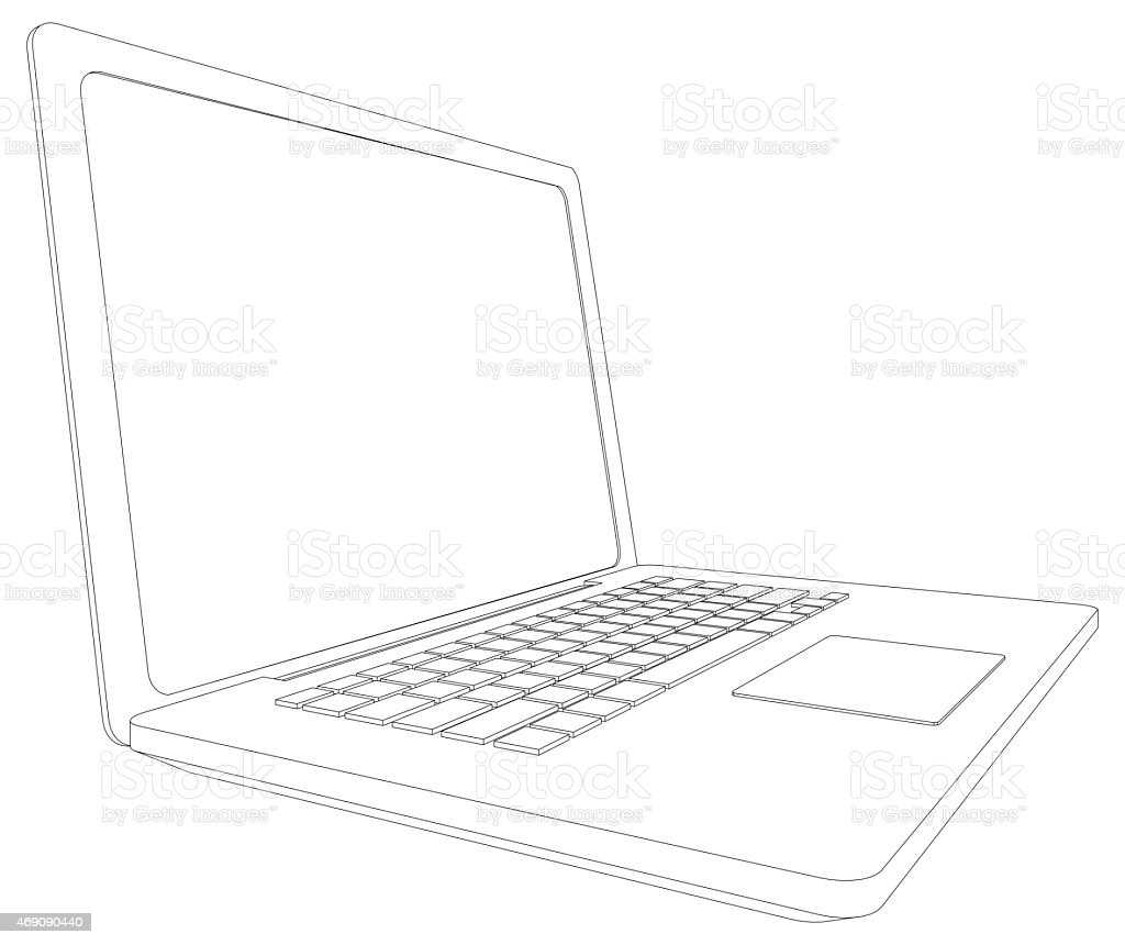 Wireframe Open Laptop Perspective View Stock Photo & More Pictures ...