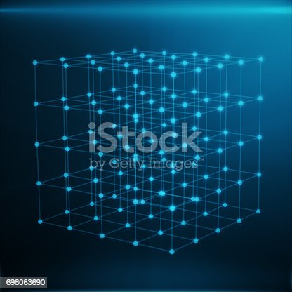 istock Wireframe Polygonal Element. Cube consisting with Blue Lines and Dots. Blue Background, 3D rendering 698063690
