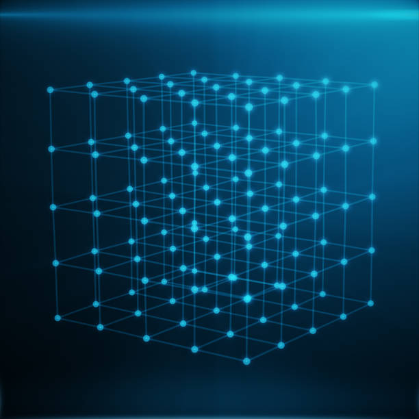Wireframe Polygonal Element. Cube consisting with Blue Lines and Dots. Blue Background, 3D rendering stock photo