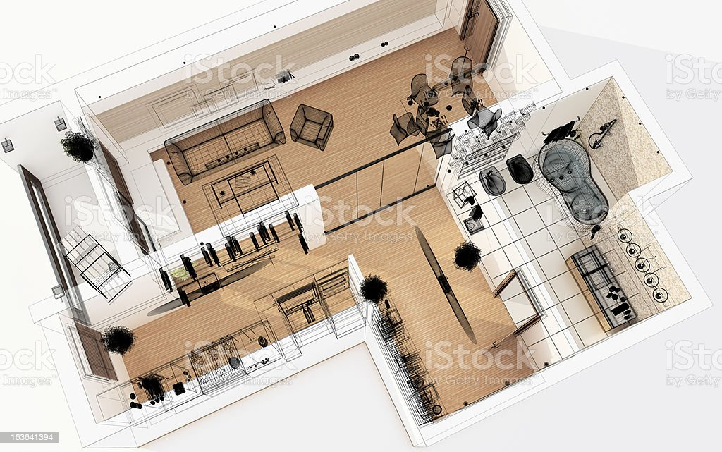 3D Wireframe Top View of Apartment. Planning. stock photo