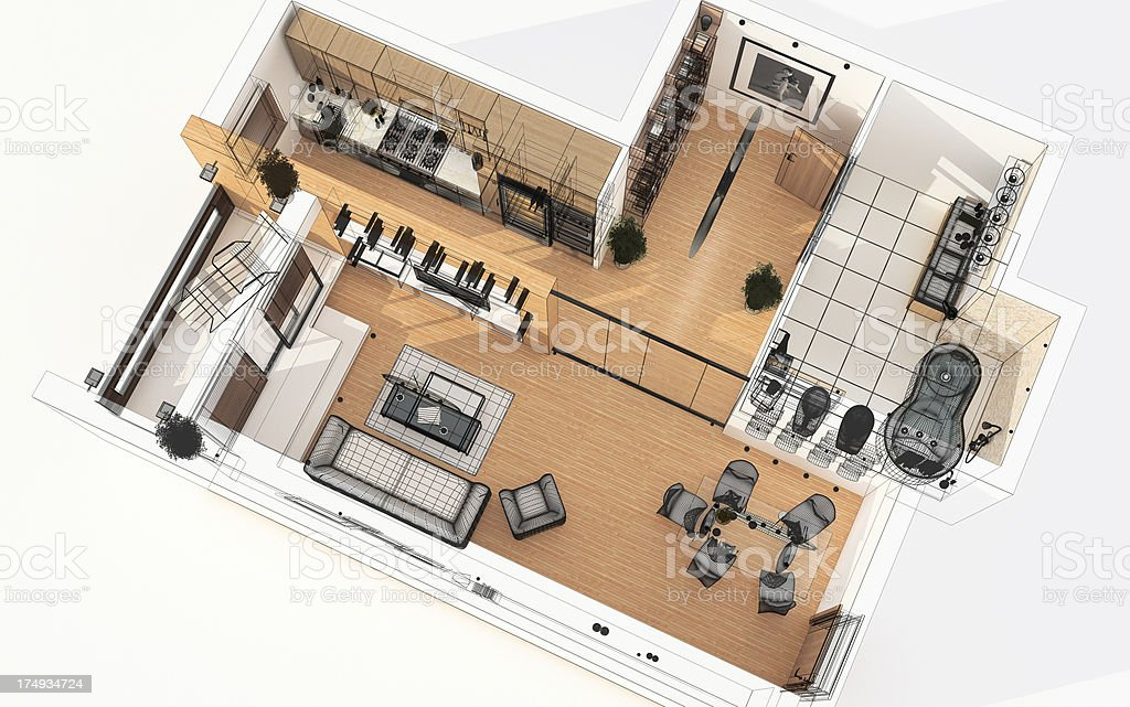 3D Wireframe Top View of Apartment. Planning. royalty-free stock photo