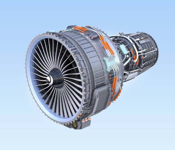 Wireframe turbofan jet engine isolated on blue background stock photo