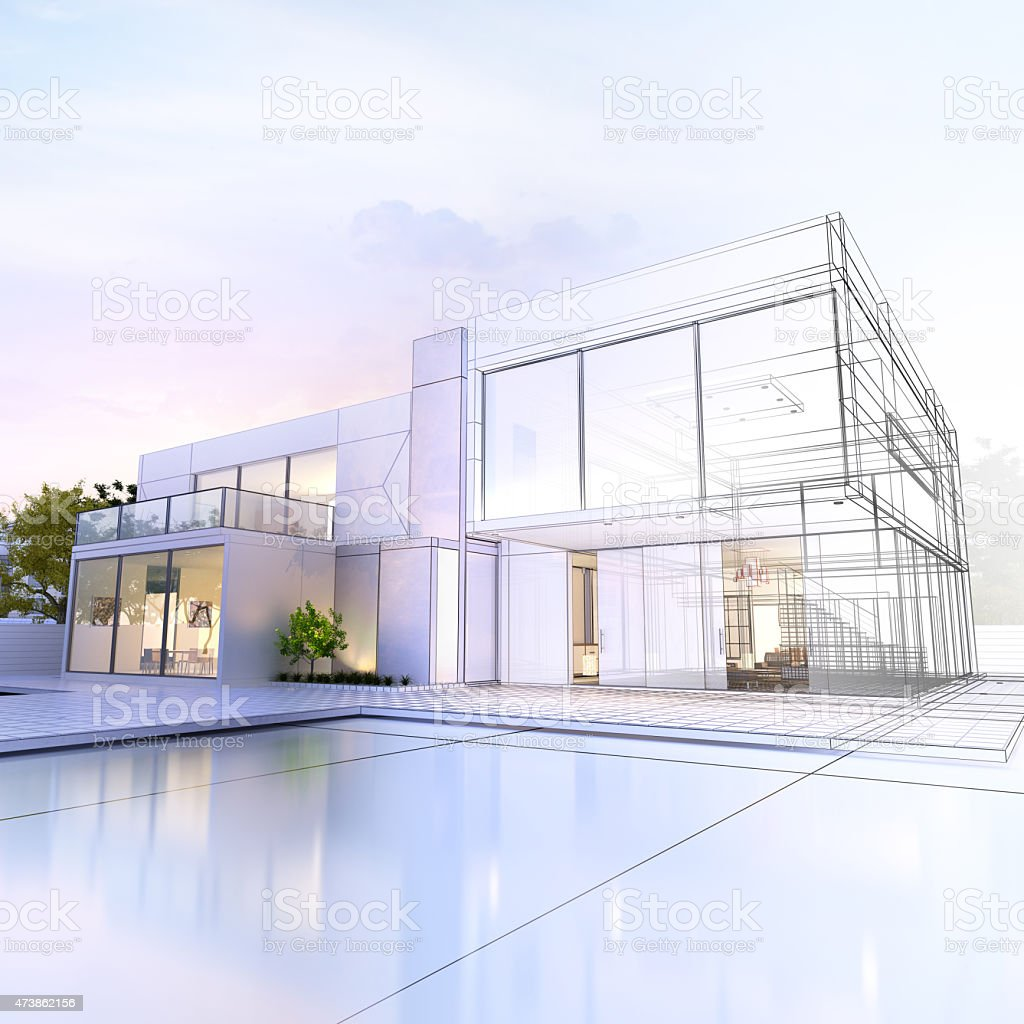 Wireframe villa stock photo