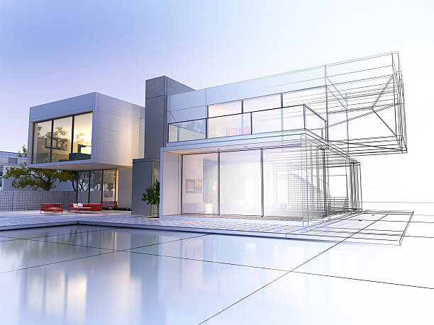wireframe villa - wire frame model stock photos and pictures
