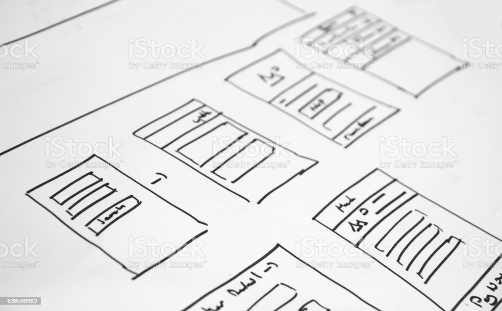 wireframe Web layout sketch paper Book, mobile and web sketch stock photo