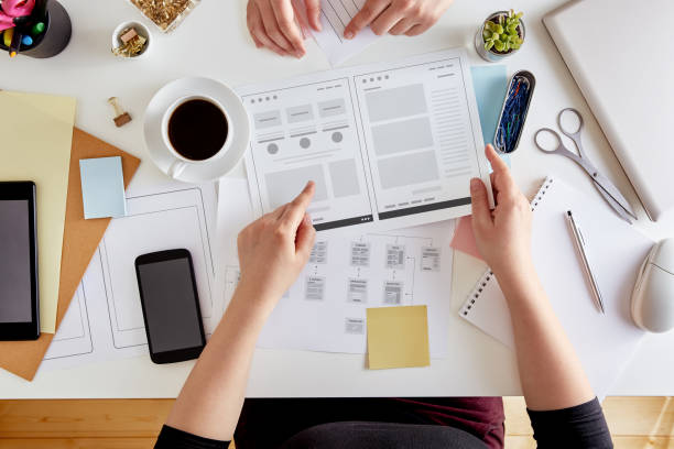Wireframing stage of a web design project stock photo