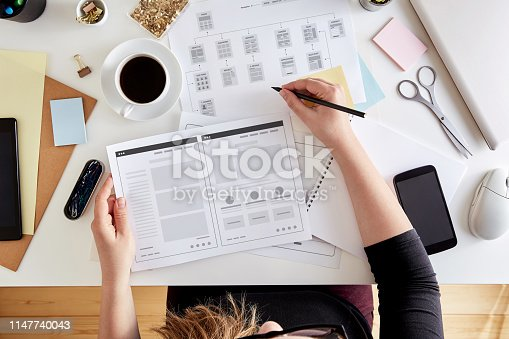 istock Wireframing stage of a web design project 1147740043