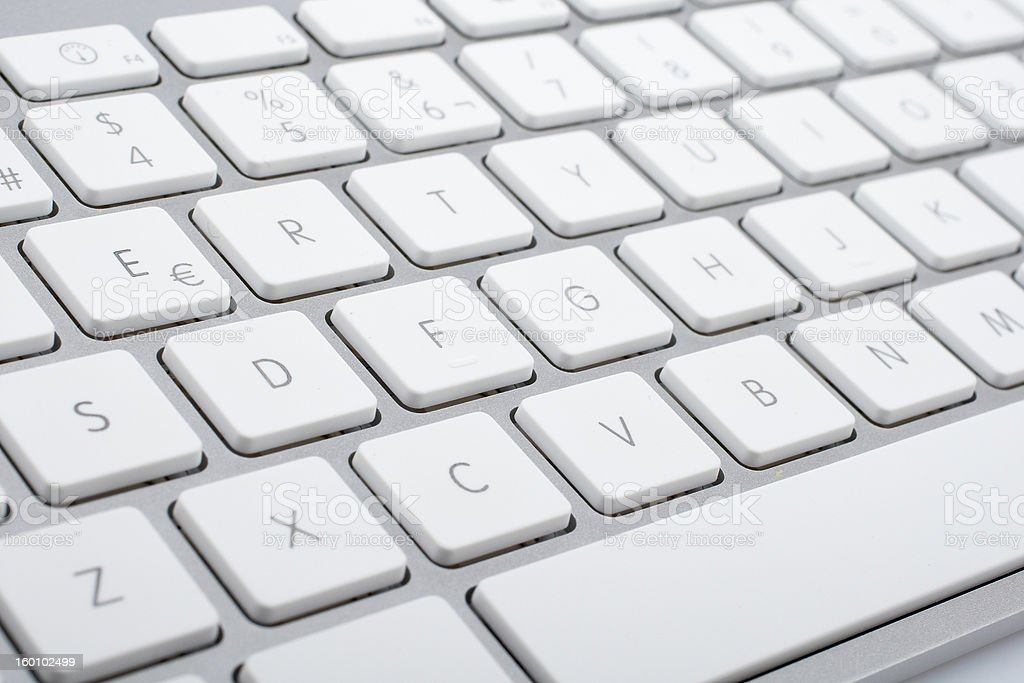 Wireless aluminum keyboard detail stock photo
