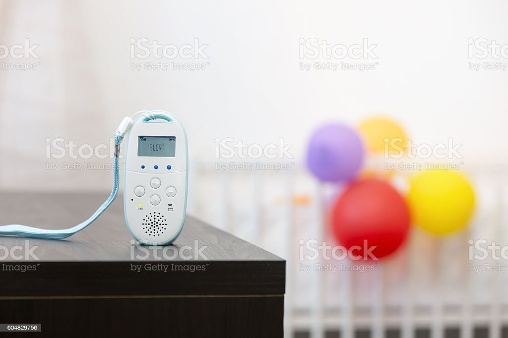 wireless baby monitor device on the table stock photo