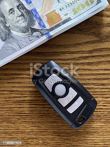 539841066 istock photo Wireless car key and money stack 1195957524