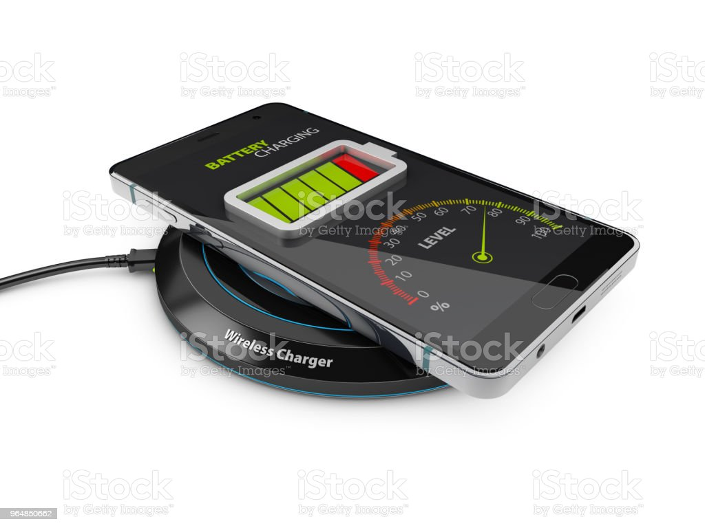 Wireless charging of smartphone, 3d Illustration isolated white royalty-free stock photo