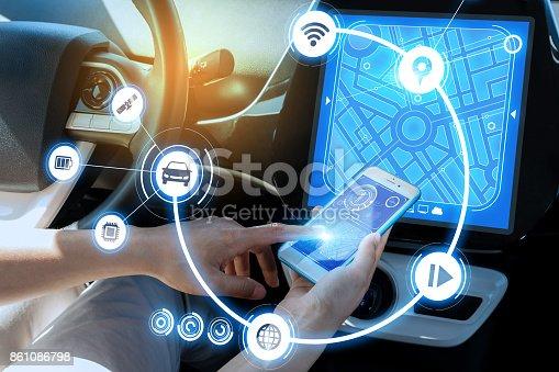 692837788istockphoto wireless communication between smart phone and car instrument panel. autonomous car. 861086798