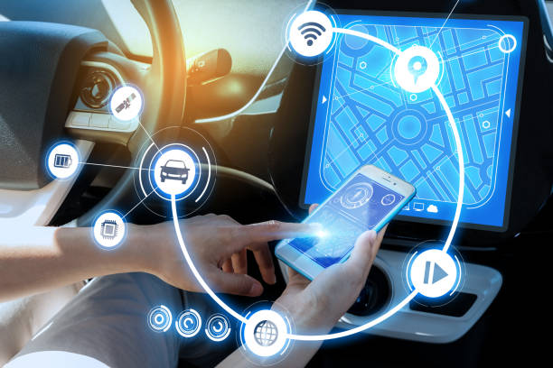 wireless communication between smart phone and car instrument panel. autonomous car. stock photo
