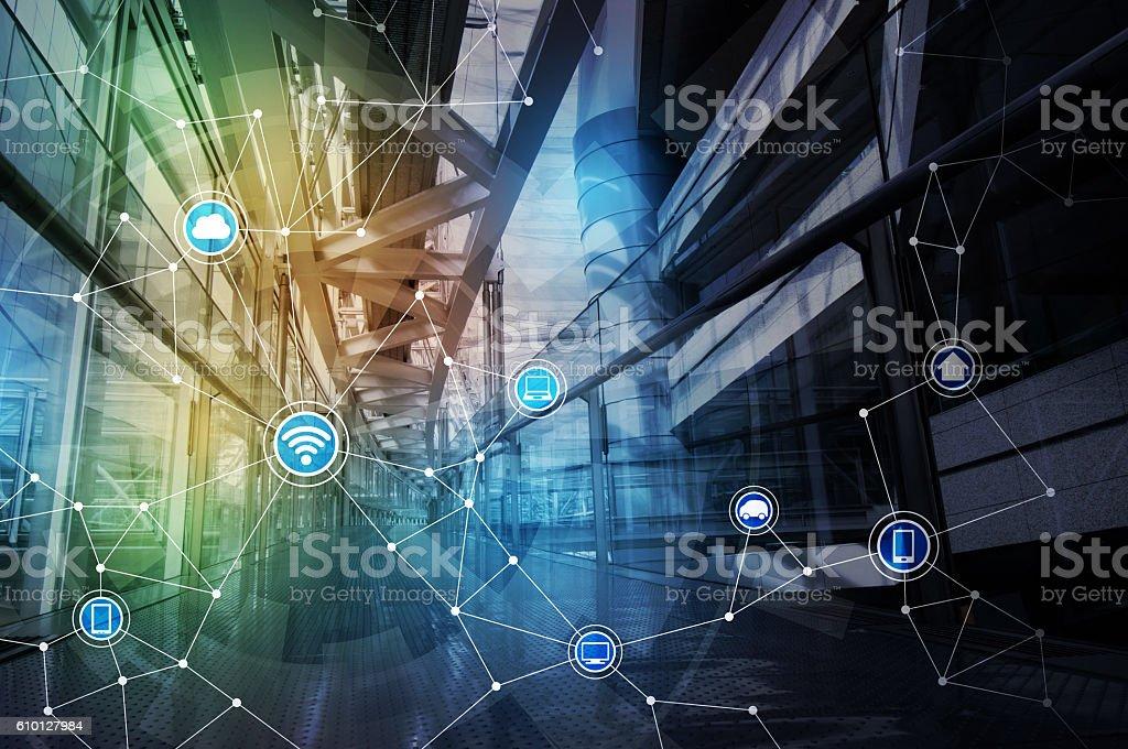 wireless communication network abstract image visual - Foto de stock de Abstracto libre de derechos