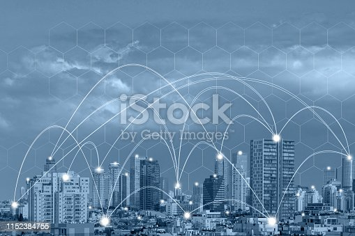 istock Wireless communication network concept. Connect global wireless devices 1152384755