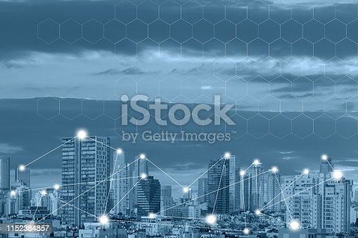 istock Wireless communication network concept. Connect global wireless devices 1152384857