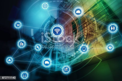 istock Wireless communication network concept. Internet of Things. Information Communication Network. 872711140