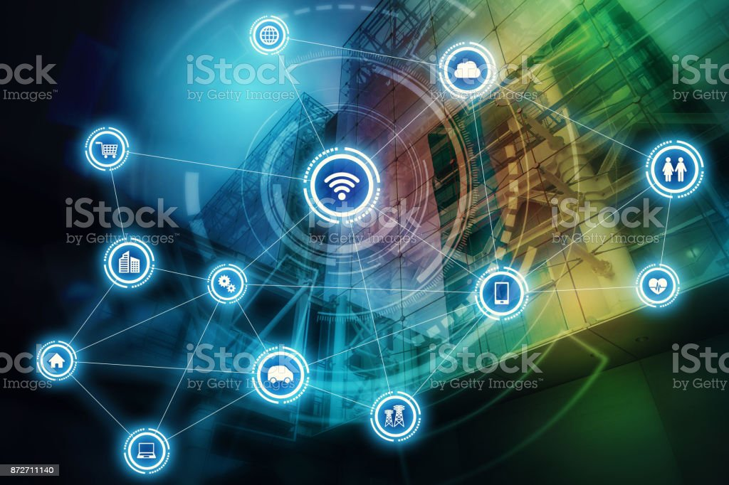 Wireless communication network concept. Internet of Things. Information Communication Network. stock photo