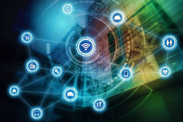 wireless communication network concept. internet of things. information communication network. - asian with phone house background stock photos and pictures