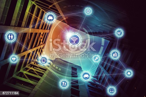 istock Wireless communication network concept. Internet of Things. Information Communication Network. 872711164