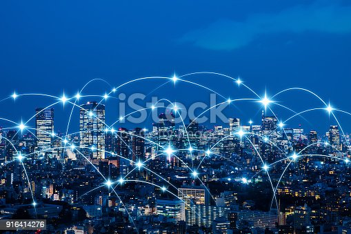 istock Wireless communication network concept. IoT(Internet of Things). ICT(Information Communication Technology). 916414276