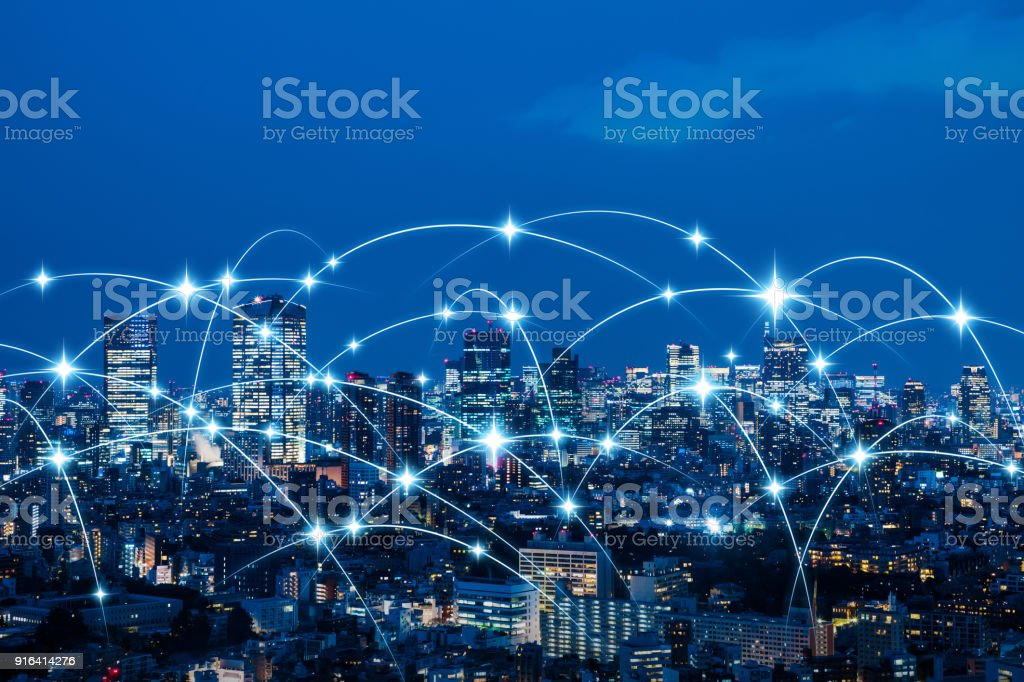 Wireless communication network concept. IoT(Internet of Things). ICT(Information Communication Technology). stock photo