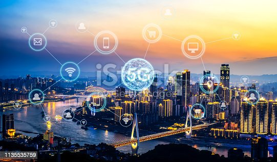 istock Wireless communication network concept.Panorama of Modern City 1135535759