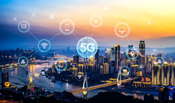 Wireless communication network concept.Panorama of Modern City stock photo
